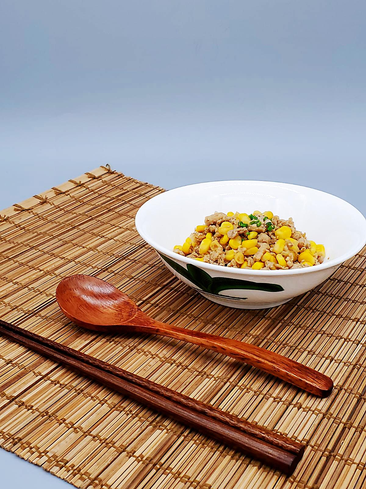 Stir-fly Minced Pork with Sweet Corn in Shacha Sauce