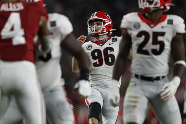 Georgia placekicker Jack Podlesny (96) during the Bulldogs' game with Alabama in Tuscaloosa, Ala., on Saturday, Oct. 17, 2020. (Photo by Skylar Lien)