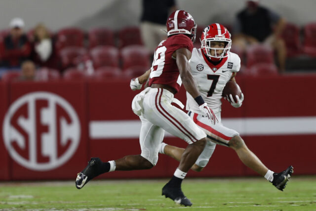 Georgia wide receiver Jermaine Burton (7) during the Bulldogs' game with Alabama in Tuscaloosa, Ala., on Saturday, Oct. 17, 2020. (Photo by Skylar Lien)
