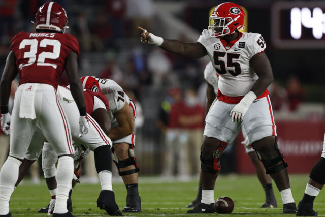 Georgia offensive lineman Trey Hill (55) during the Bulldogs' game with Alabama in Tuscaloosa, Ala., on Saturday, Oct. 17, 2020. (Photo by Skylar Lien)