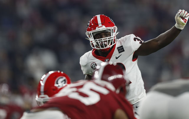Georgia inside linebacker Monty Rice (32) during the Bulldogs' game with Alabama in Tuscaloosa, Ala., on Saturday, Oct. 17, 2020. (Photo by Skylar Lien)