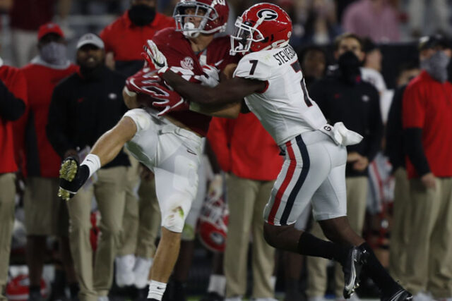 Georgia defensive back Tyrique Stevenson (7) during the Bulldogs' game with Alabama in Tuscaloosa, Ala., on Saturday, Oct. 17, 2020. (Photo by Skylar Lien)