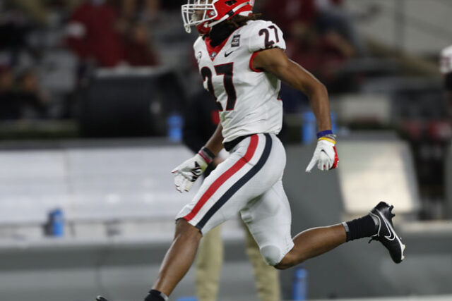 Georgia defensive back Eric Stokes (27) during the Bulldogs' game with Alabama in Tuscaloosa, Ala., on Saturday, Oct. 17, 2020. (Photo by Skylar Lien)