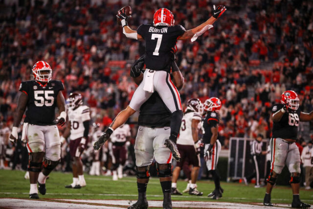 Georgia wide receiver Jermaine Burton (7) during the Bulldogs' game against Mississippi State at Dooley Field at Sanford Stadium in Athens, Ga., on Saturday, Nov. 21, 2020. (Photo by Chamberlain Smith)