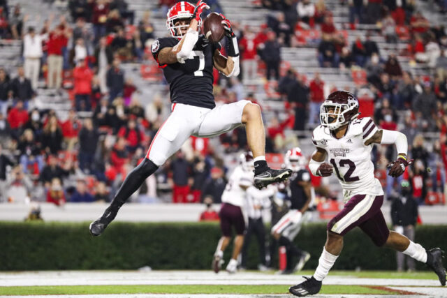 Georgia wide receiver Jermaine Burton (7) during a game against Mississippi State on Dooley Field at Sanford Stadium in Athens, Ga., on Saturday, Nov. 21, 2020. (Photo by Tony Walsh)