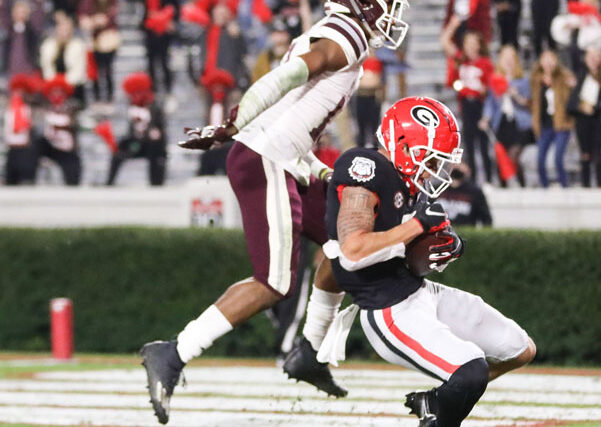 Georgia wide receiver Jermaine Burton (7) during a game against Mississippi State on Dooley Field at Sanford Stadium in Athens, Ga., on Saturday, Nov., 21, 2020. (Photo by Chamberlain Smith)