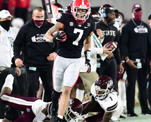 Georgia wide receiver Jermaine Burton (7) during the Bulldogs' game against Mississippi State at Dooley Field at Sanford Stadium in Athens, Ga., on Saturday, Nov. 21, 2020. (Photo by Perry McIntyre)