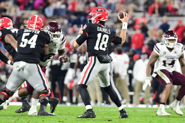 Georgia quarterback JT Daniels (18) during the Bulldogs' game against Mississippi State at Dooley Field at Sanford Stadium in Athens, Ga., on Saturday, Nov. 21, 2020. (Photo by Perry McIntyre)