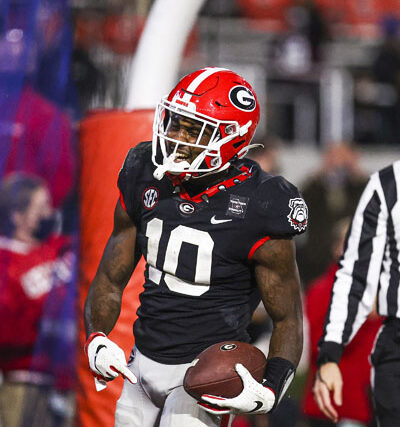 Georgia wide receiver Kearis Jackson (10) during a game against Mississippi State on Dooley Field at Sanford Stadium in Athens, Ga., on Saturday, Nov. 21, 2020. (Photo by Tony Walsh)
