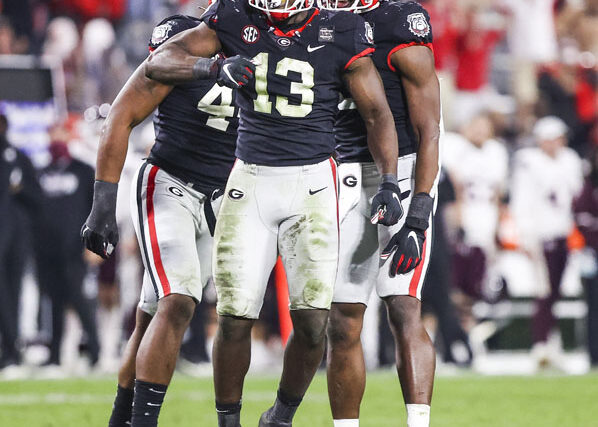 Georgia outside linebacker Azeez Ojulari (13) during a game against Mississippi State on Dooley Field at Sanford Stadium in Athens, Ga., on Saturday, Nov. 21, 2020. (Photo by Tony Walsh)
