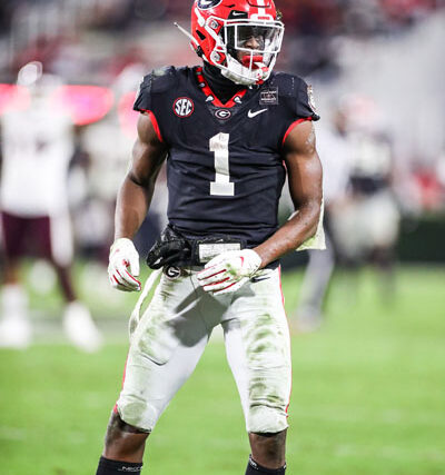 Georgia wide receiver George Pickens (1) during a game against Mississippi State on Dooley Field at Sanford Stadium in Athens, Ga., on Saturday, Nov., 21, 2020. (Photo by Chamberlain Smith)