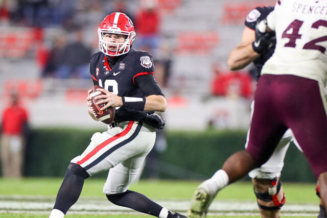 Georgia quarterback JT Daniels (18) during a game against Mississippi State on Dooley Field at Sanford Stadium in Athens, Ga., on Saturday, Nov., 21, 2020. (Photo by Chamberlain Smith)