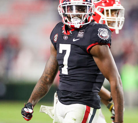 Georgia defensive back Tyrique Stevenson (7) during a game against Mississippi State on Dooley Field at Sanford Stadium in Athens, Ga., on Saturday, Nov., 21, 2020. (Photo by Chamberlain Smith)