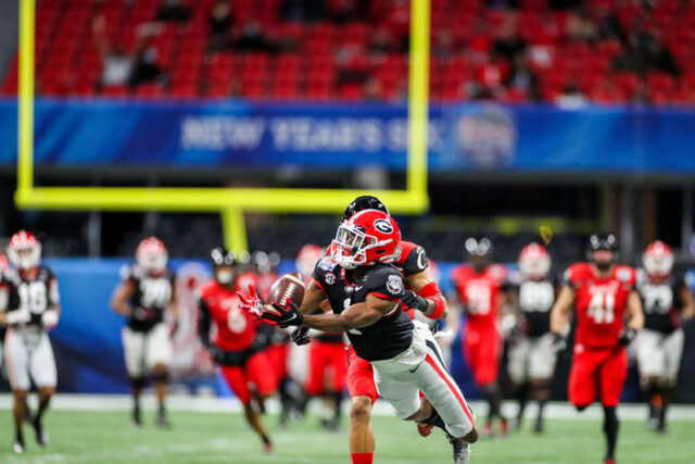 Georgia wide receiver George Pickens (1) during the Chick-fil-A Peach Bowl at Mercedes-Benz Stadium in Atlanta, Ga., on New Year's Day, Jan. 1, 2021. (Photo by Chamberlain Smith)