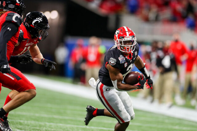 Georgia running back Zamir White (3) during the Chick-fil-A Peach Bowl at Mercedes-Benz Stadium in Atlanta, Ga., on New Year's Day, Jan. 1, 2021. (Photo by Chamberlain Smith)