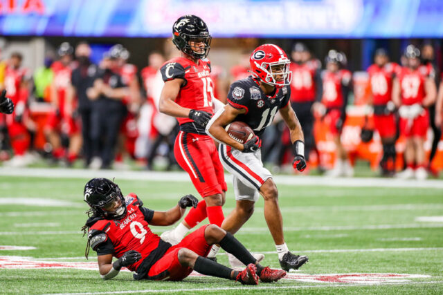 Georgia wide receiver Arian Smith (11) during the Chick-fil-A Peach Bowl at Mercedes-Benz Stadium in Atlanta, Ga., on New Year's Day, Jan. 1, 2021. (Photo by Chamberlain Smith)