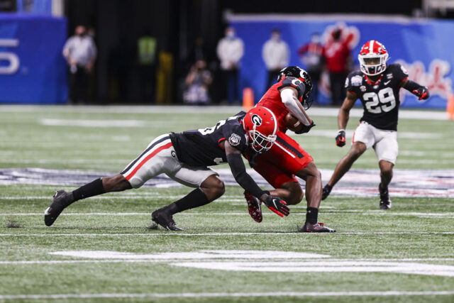 Georgia defensive back Lewis Cine (16) during the Chick-fil-A Peach Bowl between Georgia and Cincinnati at the Mercedes-Benz Stadium in Atlanta, Ga., on Friday, Jan. 1, 2020. (Photo by Tony Walsh)
