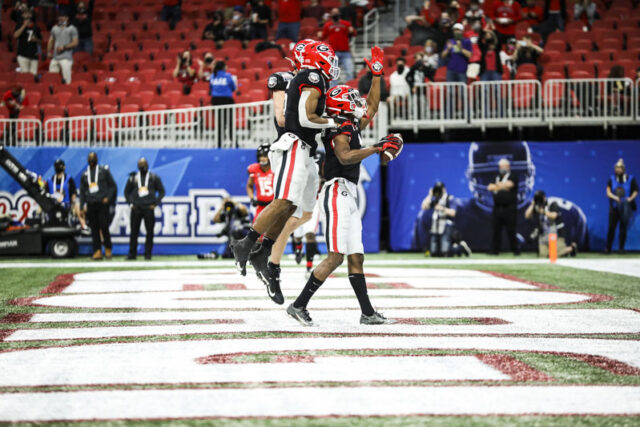 Georgia wide receiver George Pickens (1) during the Chick-fil-A Peach Bowl between Georgia and Cincinnati at the Mercedes-Benz Stadium in Atlanta, Ga., on Friday, Jan. 1, 2020. (Photo by Tony Walsh)
