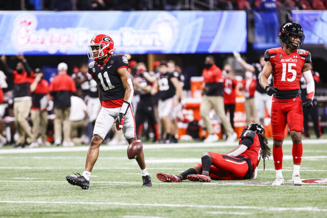 Georgia wide receiver Arian Smith (11) during the Chick-fil-A Peach Bowl between Georgia and Cincinnati at the Mercedes-Benz Stadium in Atlanta, Ga., on Friday, Jan. 1, 2020. (Photo by Tony Walsh)