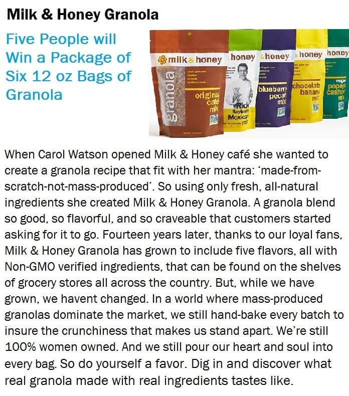 Milk and Honey Granola raffle