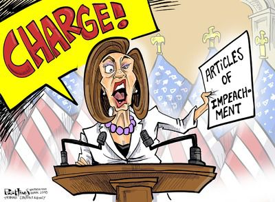 Cartoon Nancy Pelosi Holding Articles of Impeachment
