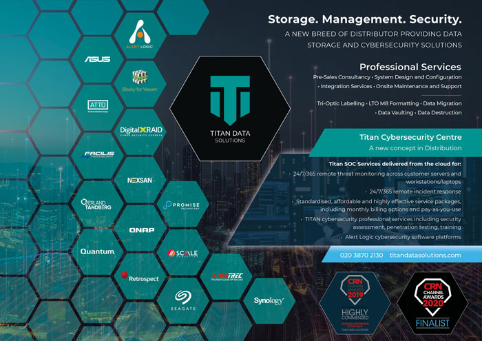 Titan Data Solutions supply all aspects of Data Storage (primary, backup and archive), while also providing cutting-edge cybersecurity service packages and solutions via the Titan Cybersecurity Centre™