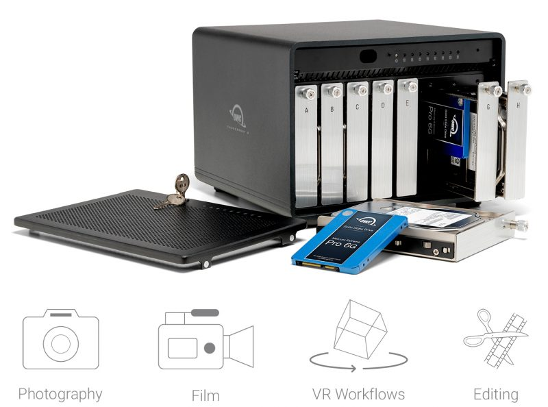 This latest addition to the popular ThunderBay line, introduced in 2014, now offers eight drive bays for either 2.5-inch or 3.5-inch HDDs or SSDs in any combination for up to 128TB of capacity.