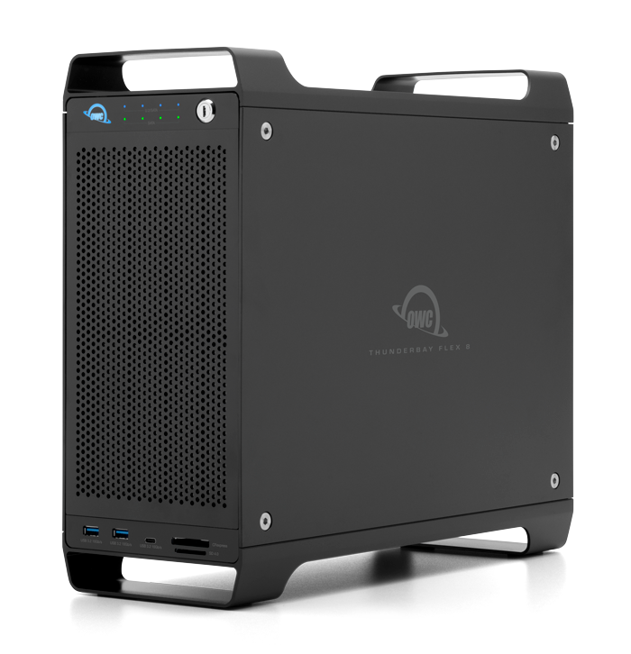 Eight drive bays that support a mix of SATA/SAS and U.2/M.2 NVMe drives for up to 128TB of storage capacity.