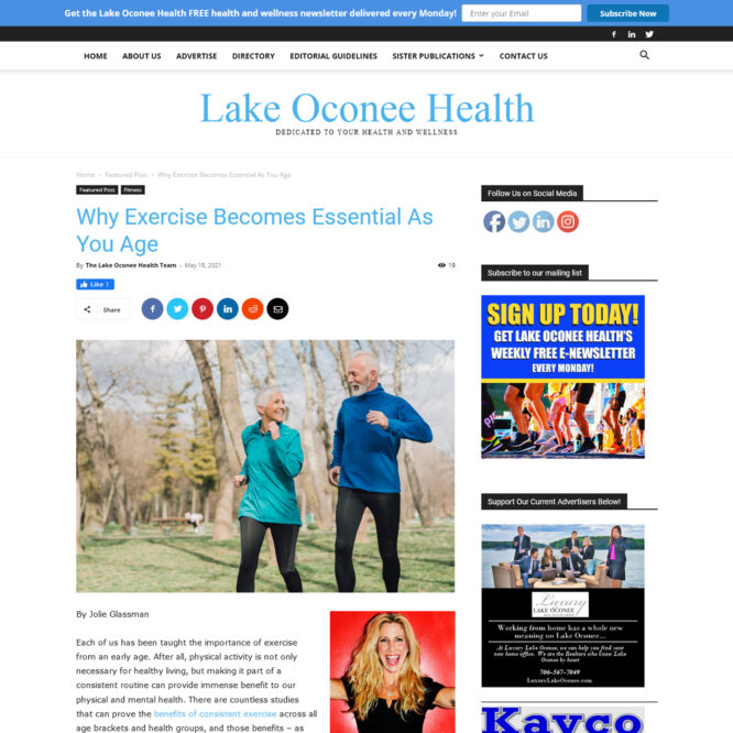 Lake Oconee Health – Why Exercise Becomes Essential As You Age