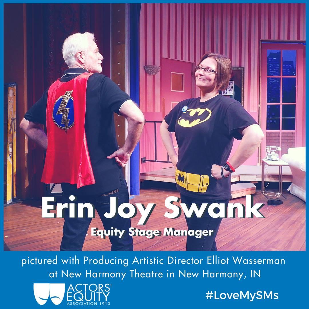 Elliot Wasserman and Erin Joy Swank in superhero outfits