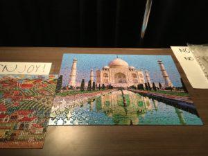 A finished puzzle of the Taj Mahal