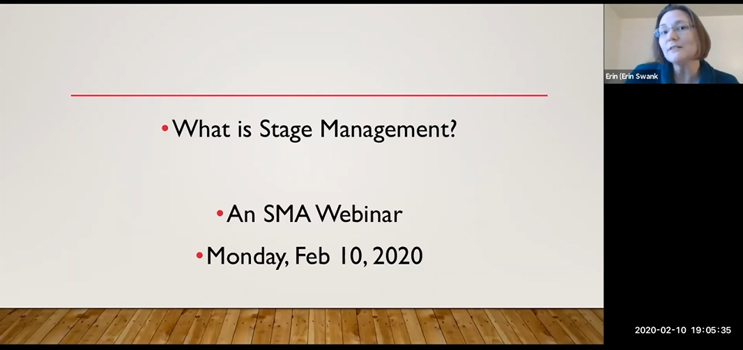 Screenshot from the What is Stage Management webinar, with title page and Erin in the upper right corner