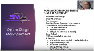 Screenshot from a Stage Managers' Association webinar on Opera Stage Management, hosted by Erin Joy Swank. This page discusses paperwork and responsibilities that are different including score timings, a who/what/where, first entrances, duties of Assistant Stage Managers, and various versions of scheduling/schedules.