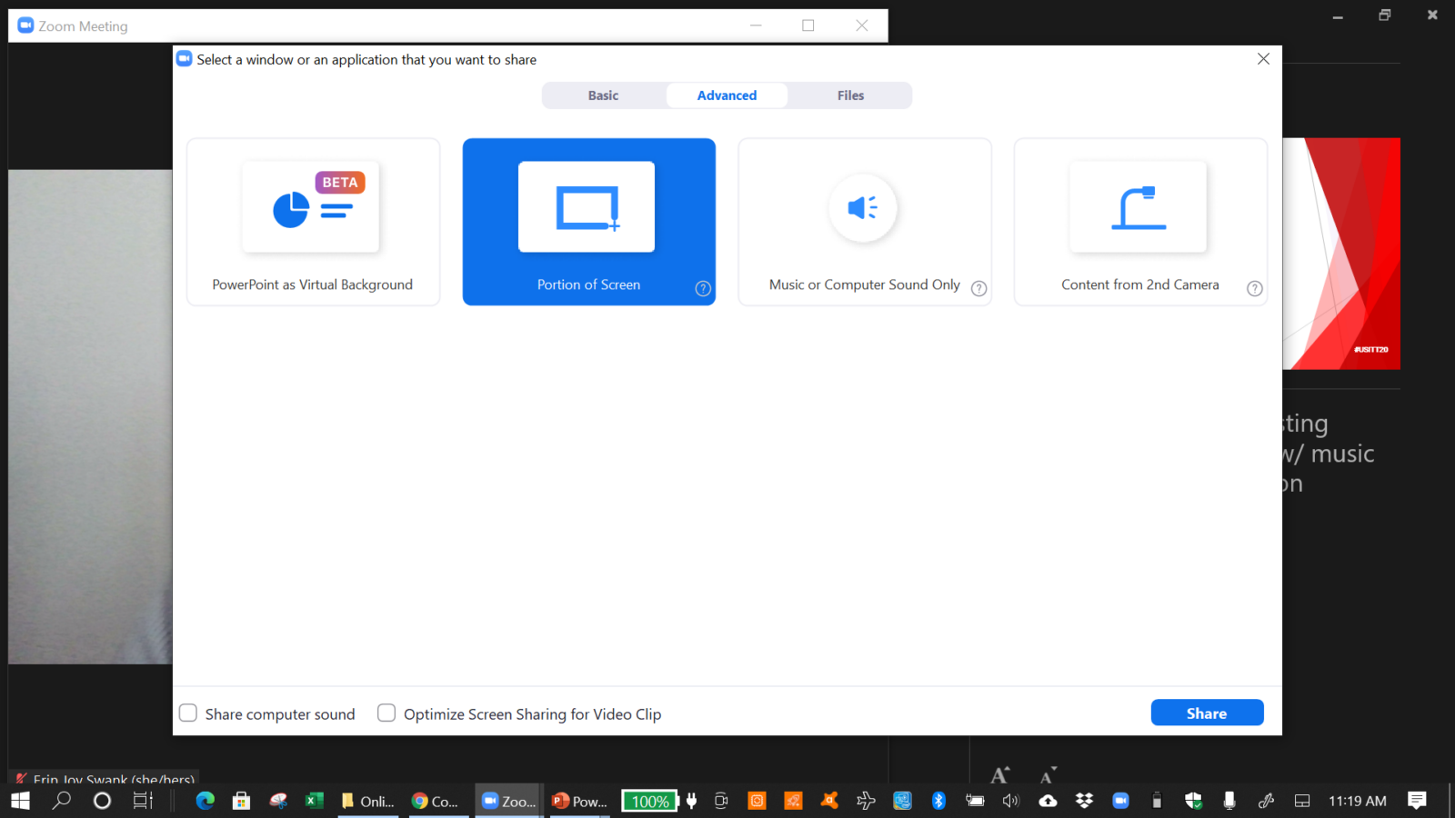 """Screenshot of Zoom's Advanced Screen Share options, highlighting """"Share Portion of Screen"""""""