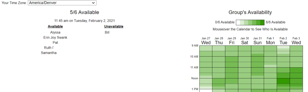 Screenshot of a When2Meet link, showing that on a given time slot 5 people are available and 1 is not