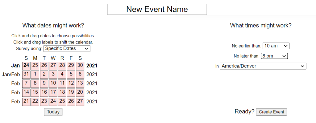 Screenshot of a When2Meet Creation webpage, choosing which dates, time zone, and range of dates for attendees to choose from