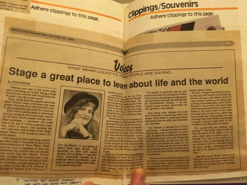 Photo of a news article titled Stage a Great Place to Learn About Life and the World, written by 17 year old Erin Joy Swank