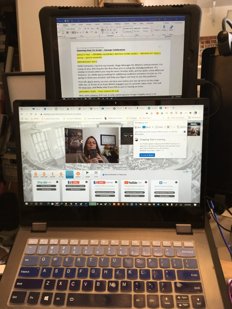 Image showing a tablet above a laptop screen