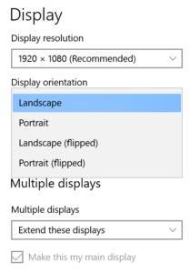 Screenshot of Windows Display Settings