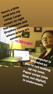 Showing Erin's virtual setup