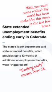 Screenshot of bad news that unemployment benefits were ending earlier than expected.