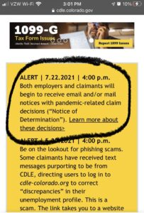 Screenshot of CDLE yellow alert saying that both employers and claimants will begin to receive email and/or mail notices with pandemic-related claim decisions.