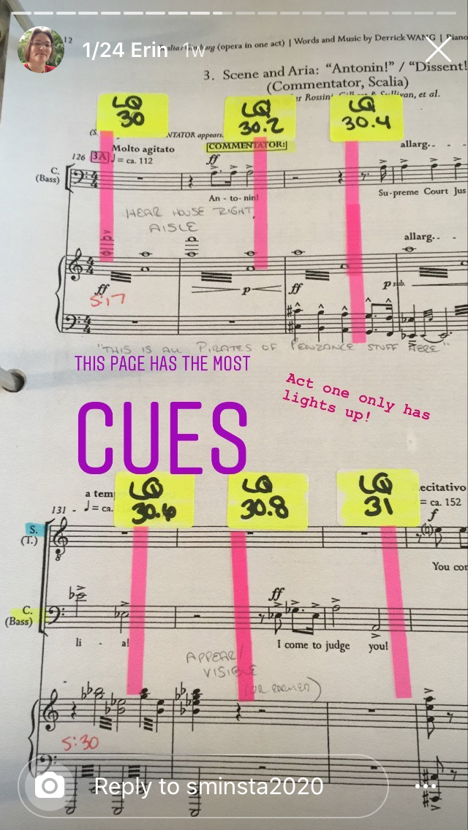 Photo of a stage manager's calling score for an opera, with six cues on one page