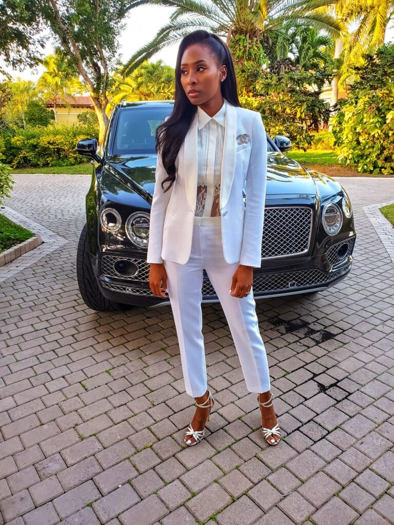 Womens all white formal pant suit