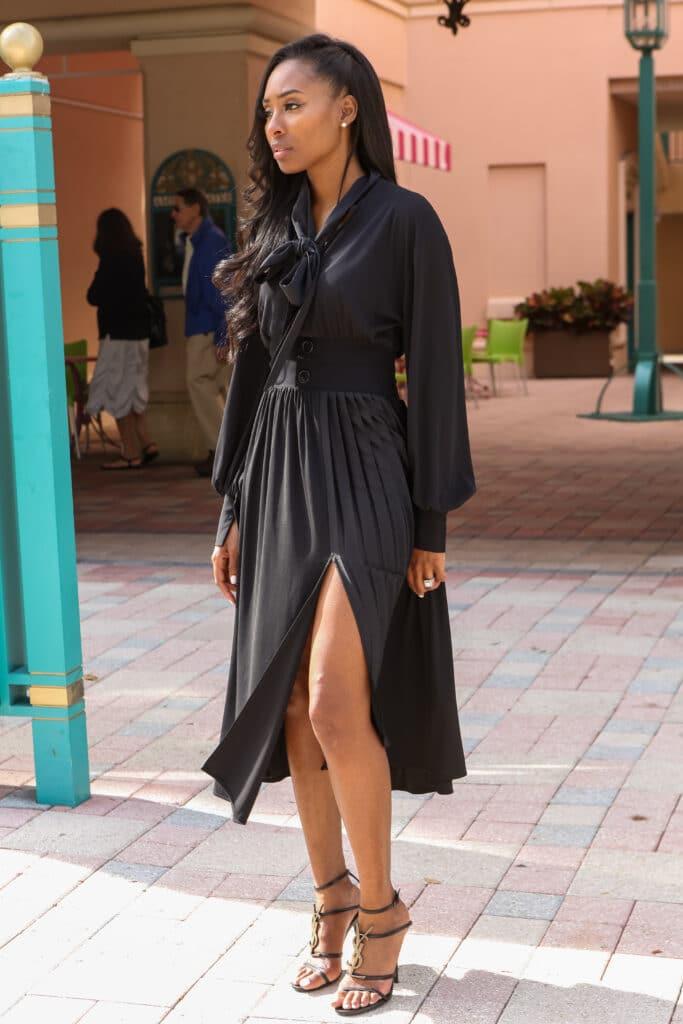 Black Midi dress with split