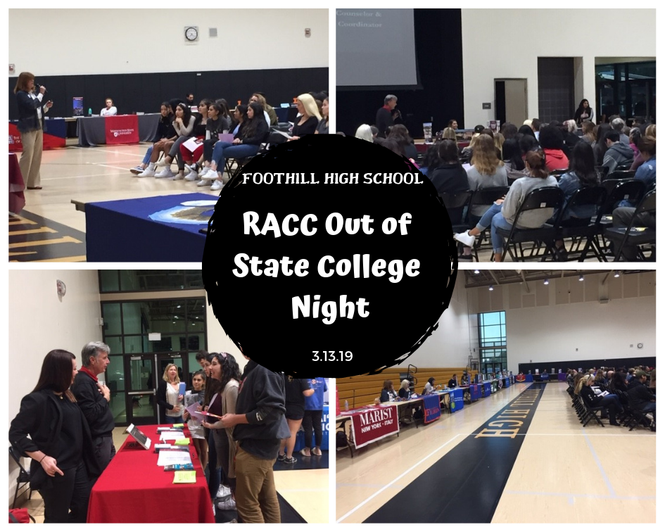 RACC Out of State Night photos of college reps meeting with students