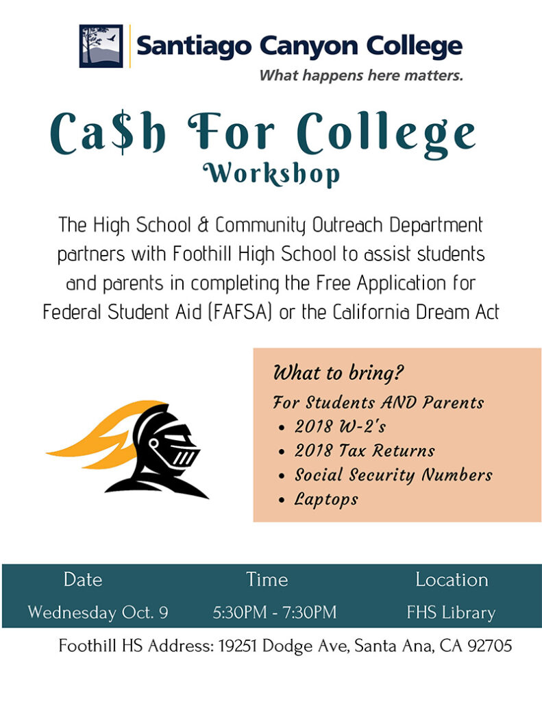 Ca$h for College flyer