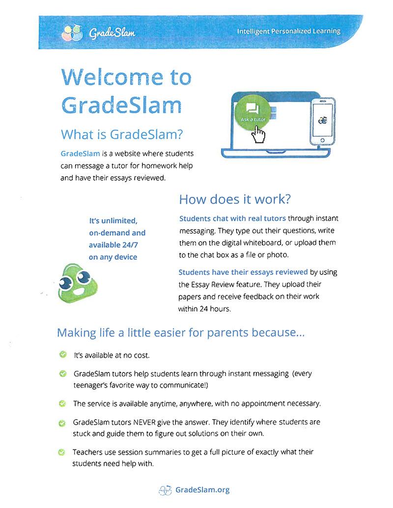 Grade Slam Homework Help