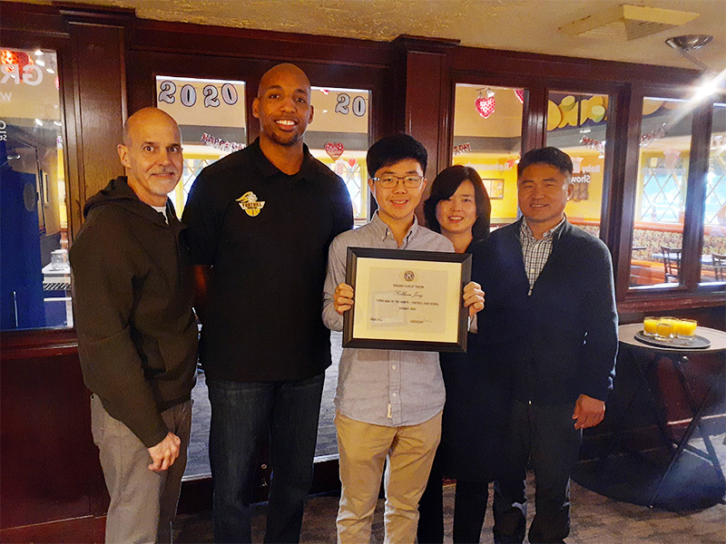 Seokboem (Tim) Jang was selected as Young Man of the Month sponsors by Kiwanis Club of Tustin