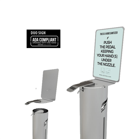 sanitizer dispenser sign and push pump